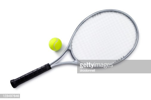 Silver Tennis Racket and Ball : Stock Photo