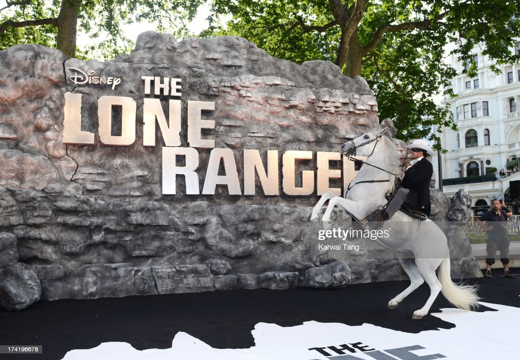 Silver the horse attends the UK Premiere of 'The Lone Ranger' at Odeon Leicester Square on July 21, 2013 in London, England.