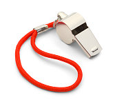 Coach Gym Whistle with Red Cord Isolated on White Background.