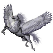 Pegasus is a winged divine stallion who was sired by the god Poseidon of folklore and legend.
