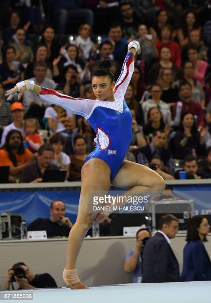 Silver winner Elissa Downie of Great Britain performs on the floor during the women apparatus final for the European Artistic Gymnastics Championship...