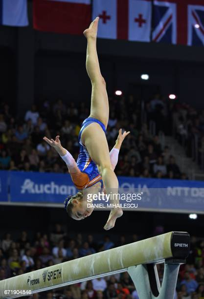 Silver winner Eythora Thorsdottir of The Nederlands performs on the balance beam of apparatus final for the European Artistic Gymnastics Championship...