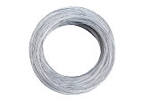 silver wire coil isolated on white background