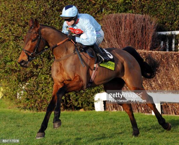 Silverburn ridden by Sam Thomas on their first lap as they go on to win the totesport Challengers Novices' Steeplechase at Sandown Park Racecourse...