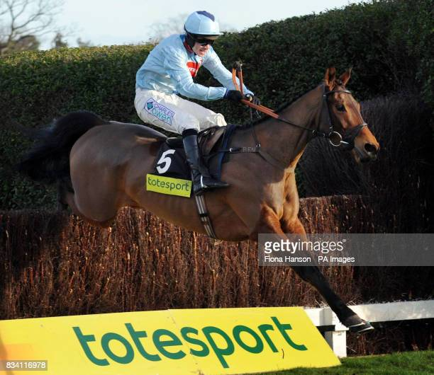 Silverburn ridden by Sam Thomas wins the totesport Challengers Novices' Steeplechase at Sandown Park Racecourse Surrey