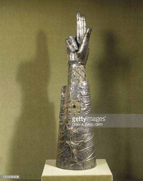 Silversmith's art 13th century Silver arm reliquary of Saint George