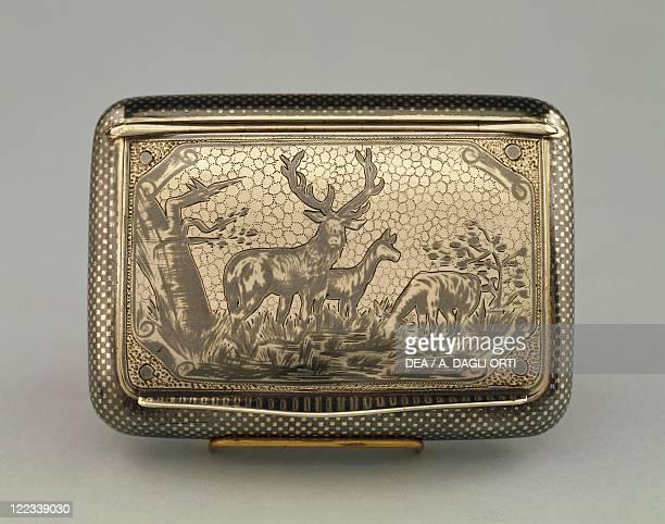 Silversmith's Art Czechoslovakia 19th century Silver snuffbox and cigarette case decorated with niello