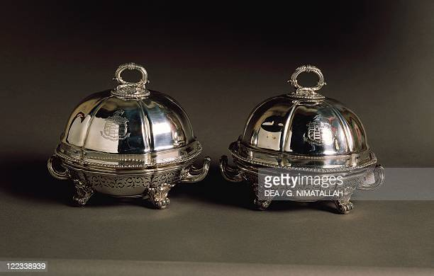 Silversmith's Art England 19th century Robert Garrard Pair of silver covered dishes engraved with a coat of arms with plated with silver and pierced...