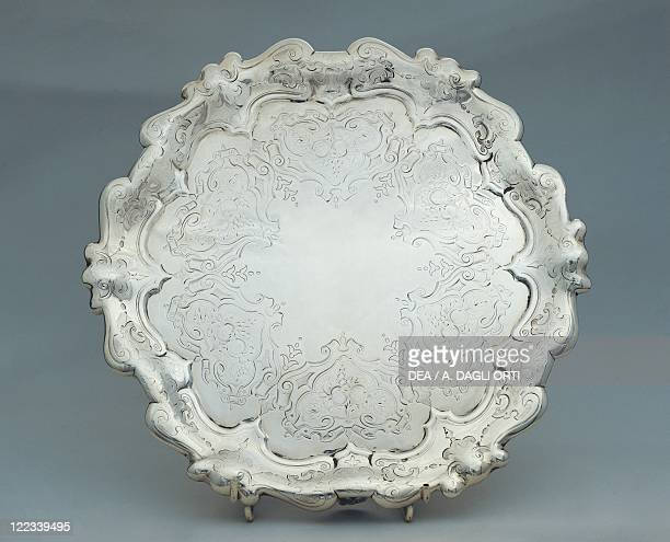 Silversmith's Art Great Britain 19th century Salver engraved silver tray with moulded rim with volutes