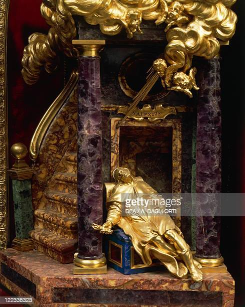 Silversmith's art Italy 17th century Massimiliano Soldani Benzi reliquary of Saint Alexius in silver gilded bronze ebony and pietre dure Height cm 54...