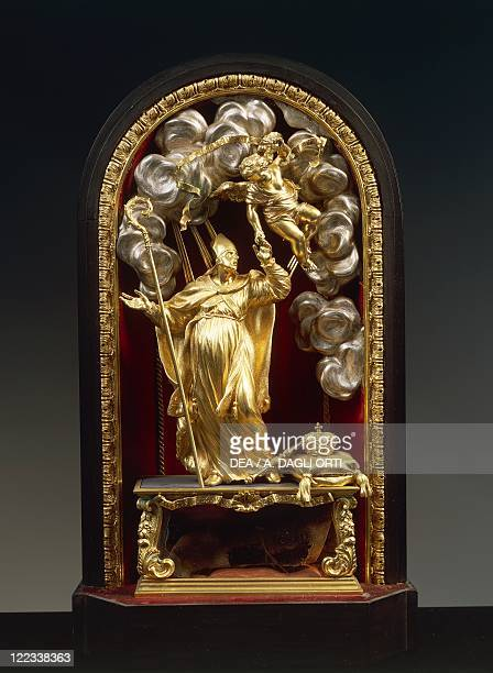 Silversmith's art Italy 17th century Massimiliano Soldani Benzi Reliquary of Saint Louis of Toulouse in silver ebony and pietre dure 1690