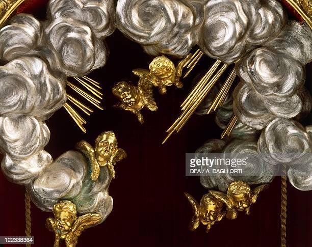 Silversmith's art Italy 17th century Massimiliano Soldani Benzi reliquary of Saint Raymond in silver ebony and pietre dure 1690 Detail