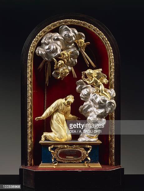 Silversmith's art Italy 17th century Massimiliano Soldani Benzi Reliquary of Saint Paschal Baylon in silver ebony and pietre dure 1690
