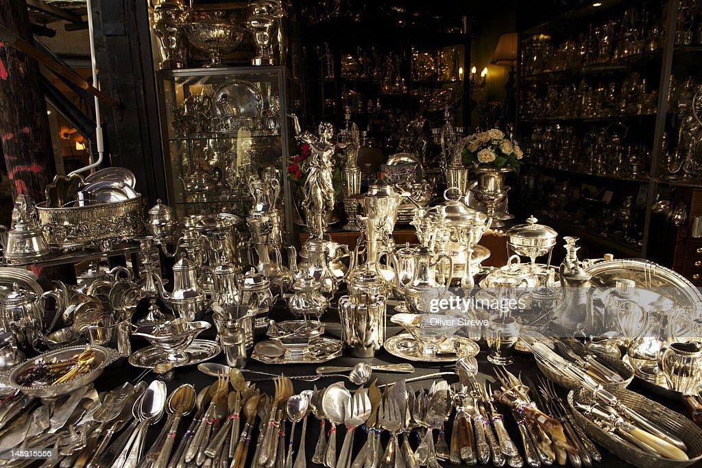 Silverware at Marche aux Puces de Saint Ouen (flea market). : Stock Photo