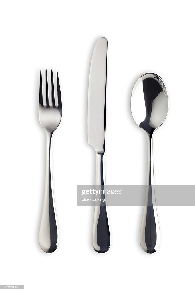 Silverware Set with Fork, Knife, and Spoon (Clipping Path)