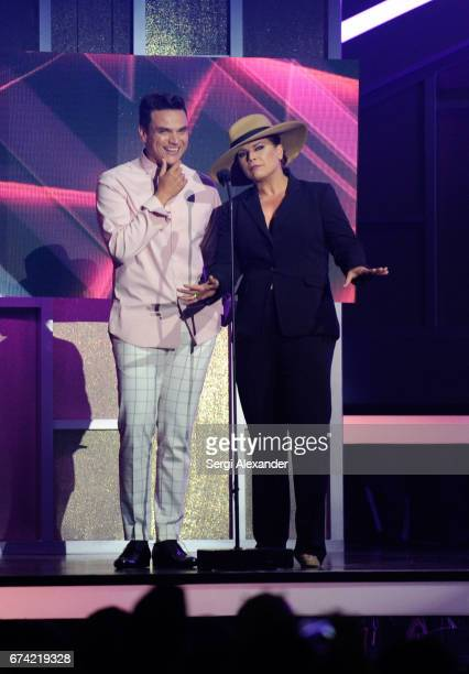 Silvestre Dangond and Olga Tañón present onstage at the Billboard Latin Music Awards at Watsco Center on April 27 2017 in Coral Gables Florida