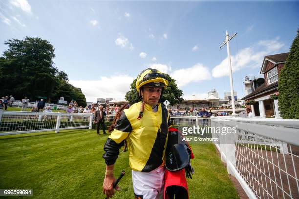 Silvestre De Sousa after riding his fourth winner of the day on Shargiah in The George LindonTravers Memorial Handicap Stakes at Sandown racecourse...
