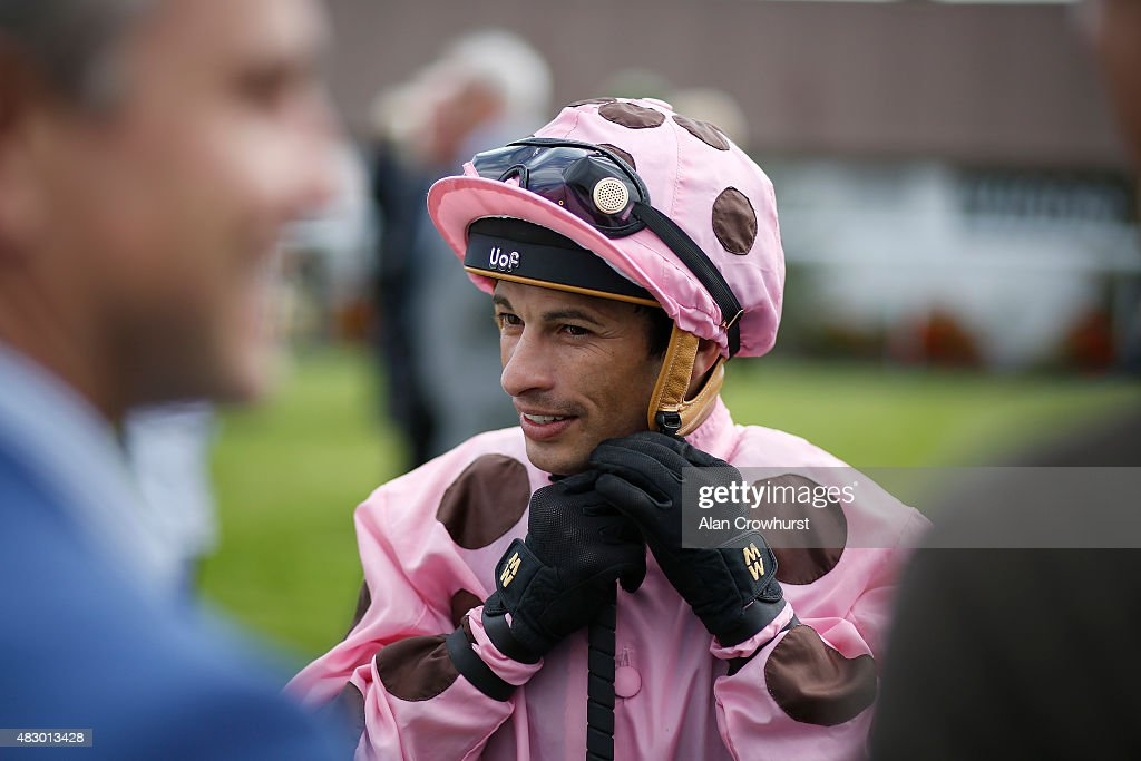 Silvestre De Sousa poses at Brighton racecourse on August 05, 2015 in Brighton, England.