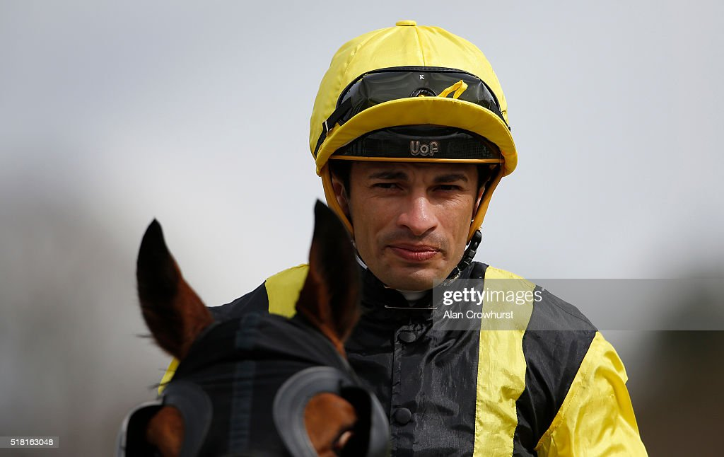 Silvestre De Sousa poses at Lingfield racecourse on March 30, 2016 in Lingfield, England.