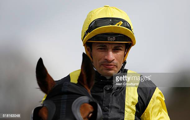 Silvestre De Sousa poses at Lingfield racecourse on March 30 2016 in Lingfield England