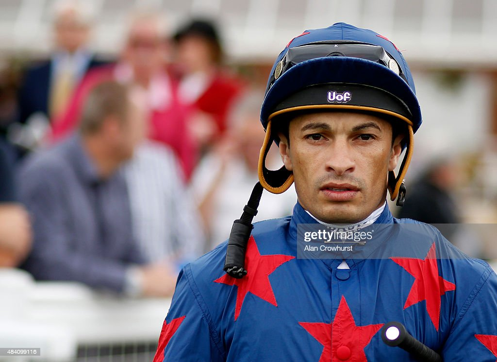 Silvestre De Sousa poses at Newbury racecourse on August 15, 2015 in Newbury, England.