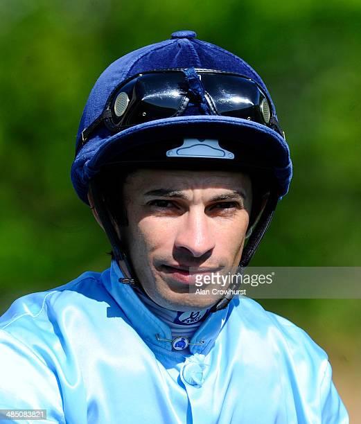 Silvestre De Sousa poses at Newmarket racecourse on April 16 2014 in Newmarket England