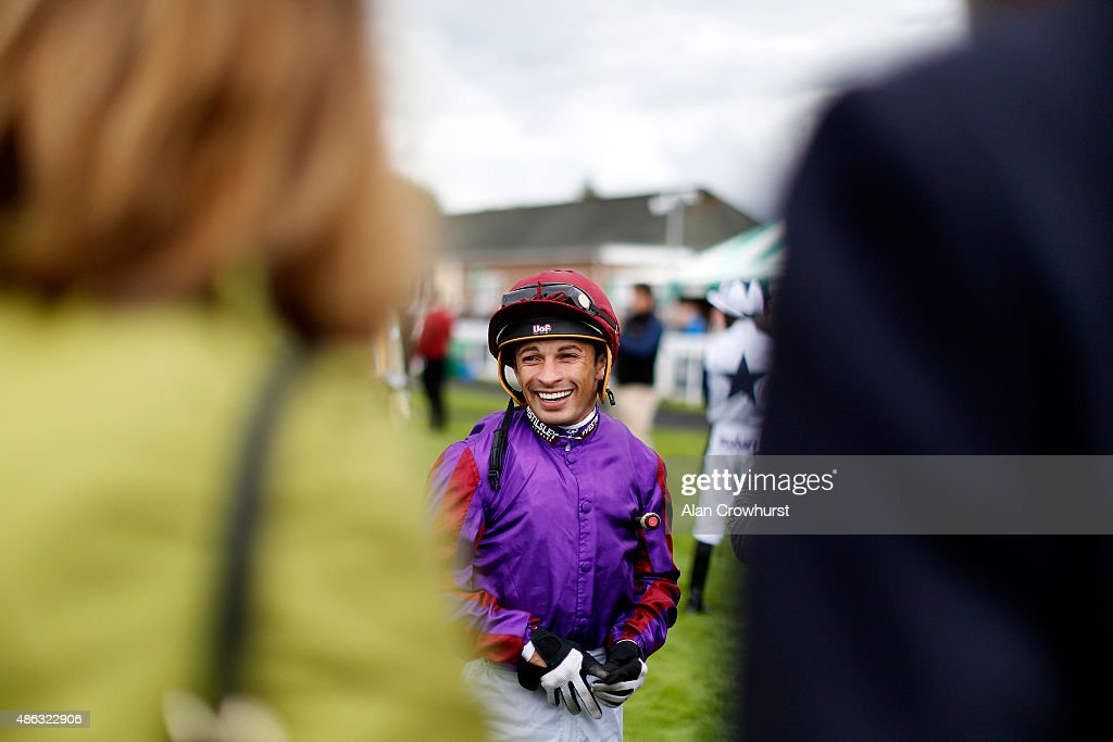 Silvestre De Sousa poses at Salisbury racecourse on September 03, 2015 in Salisbury, England.