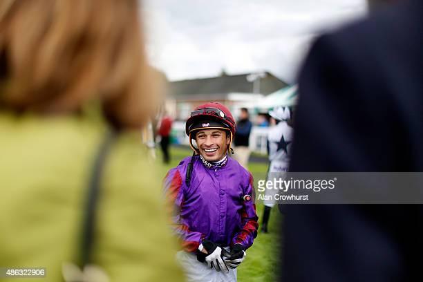 Silvestre De Sousa poses at Salisbury racecourse on September 03 2015 in Salisbury England