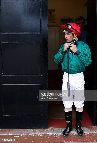 Silvestre De Sousa prepares himself at Brighton racecourse on August 05 2015 in Brighton England