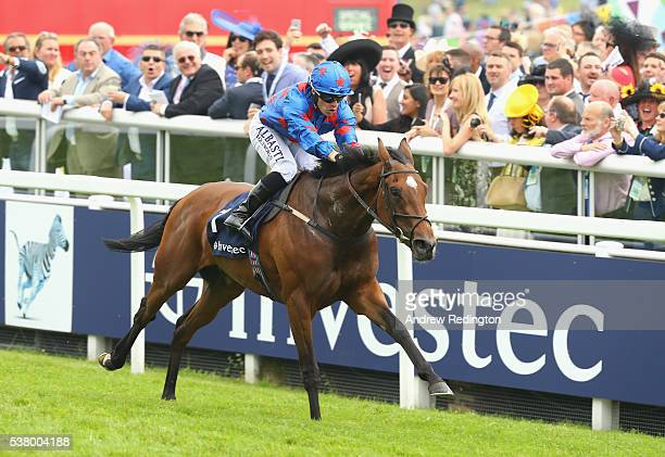Silvestre De Sousa rides Epsom Icon to victory in the Princess Elizabeth Stakes at Epsom Racecourse on June 4 2016 in Epsom England