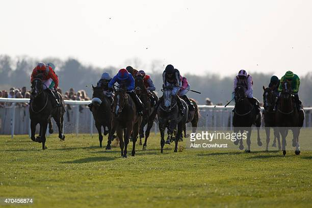 Silvestre De Sousa riding Divine win The Unibet Injury Time Insurance Is Back Handicap Stakes at Windsor racecourse on April 20 2015 in Windsor...