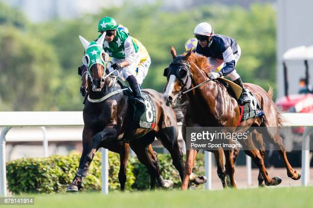 Silvestre de Sousa riding Pakistan Star and Brett Prebble riding The United States during the Audemars Piguet Queen Elizabeth II Cup on April 30 2017...