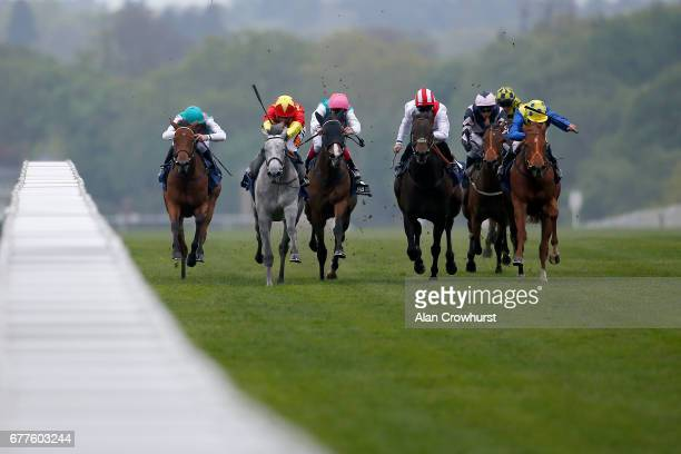 Silvestre De Sousa riding Prosper win The Spinal Injuries Association British EBF Filliesâ Conditions Stakes from Icespire at Ascot Racecourse on May...