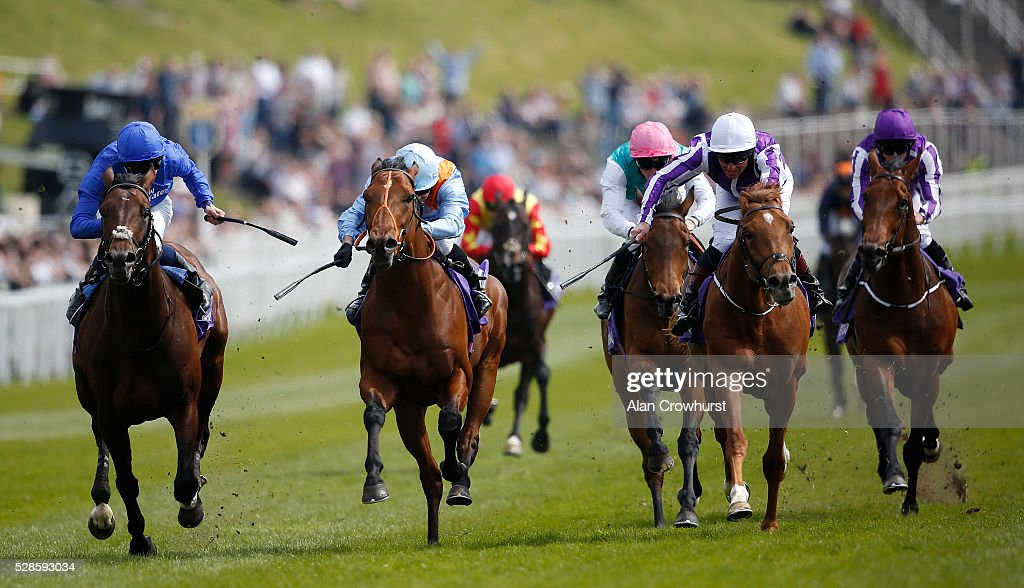 Silvestre De Sousa riding Viren's Army (2L, sky blue) win The Betdaq Dee Stakes at Chester racecourse on May 6, 2016 in Chester, England.