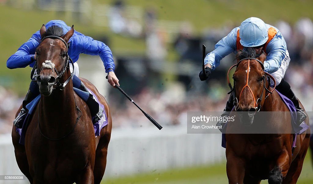 Silvestre De Sousa riding Viren's Army (R) win The Betdaq Dee Stakes at Chester racecourse on May 6, 2016 in Chester, England.