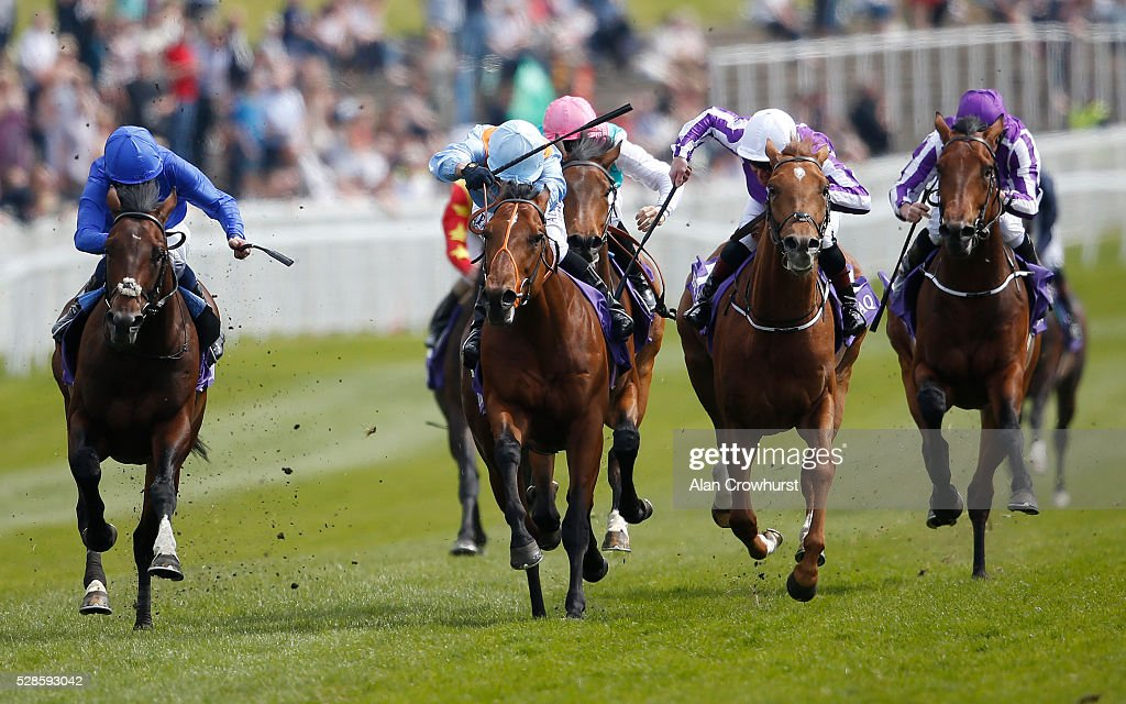 Silvestre De Sousa riding Viren's Army (C, sky blue) win The Betdaq Dee Stakes at Chester racecourse on May 6, 2016 in Chester, England.