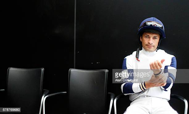 Silvestre De Sousa sits in the weighing room at Ascot Racecourse on July 22 2016 in Ascot England