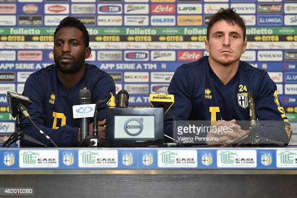 Silvestre Varela and Cristian Rodriguez of Parma FC speak to the media during a press conference at the club's training ground on January 23 2015 in...