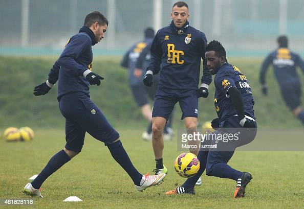 Silvestre Varela of Parma FC competes with Pedro Mendes of Parma FC during Parma FC training session at the club's training ground on January 20 2015...