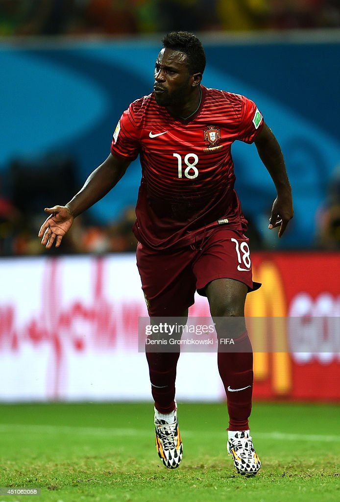 <a gi-track='captionPersonalityLinkClicked' href=/galleries/search?phrase=Silvestre+Varela&family=editorial&specificpeople=607288 ng-click='$event.stopPropagation()'>Silvestre Varela</a> of Portugal celebrates after scoring the team's second goal during the 2014 FIFA World Cup Brazil Group G match between USA and Portugal at Arena Amazonia on June 22, 2014 in Manaus, Brazil.