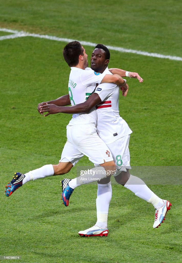 L'VIV UKRAINE JUNE 13 Silvestre Varela of Portugal celebrates scoring their third goal with Joao Moutinho of Portugal during the UEFA EURO 2012 group...