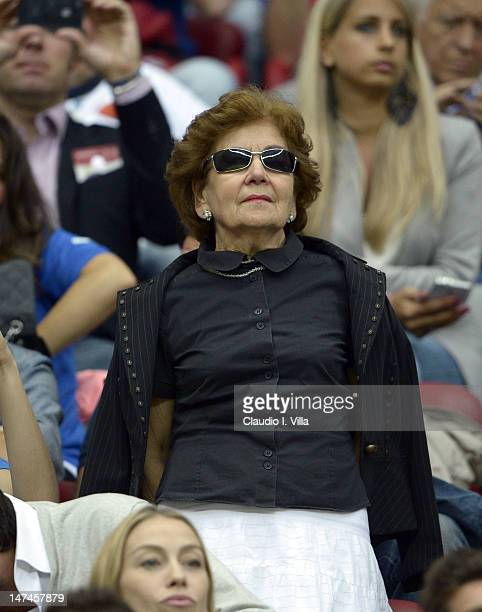 Silvia Balotelli the adoptive mother of Mario Balotelli looks on during the UEFA EURO 2012 semi final match between Germany and Italy at National...