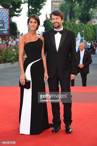 Silvia Bombardi and Dario Franceschini attend the Opening Ceremony and 'Birdman' premiere during the 71st Venice Film Festival at Palazzo Del Cinema...