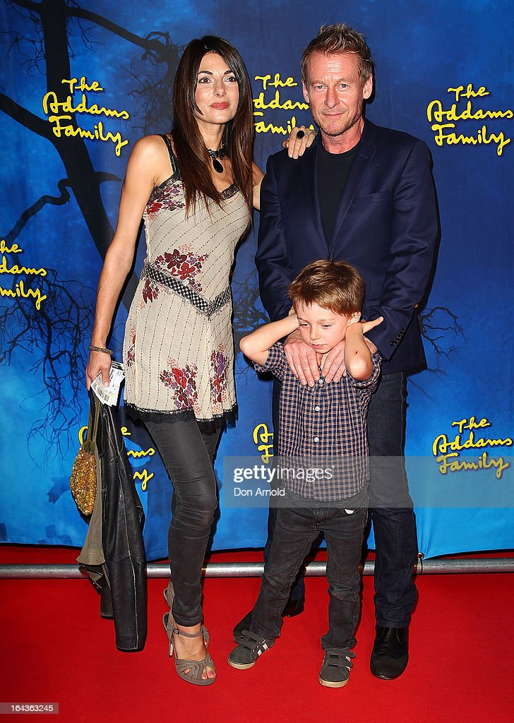 Silvia Colloca, Richard Roxburgh and Raphael Roxburgh arrive for 'The Addams Family' Musical Premiere at the Capitol Theatre on March 23, 2013 in Sydney, Australia.