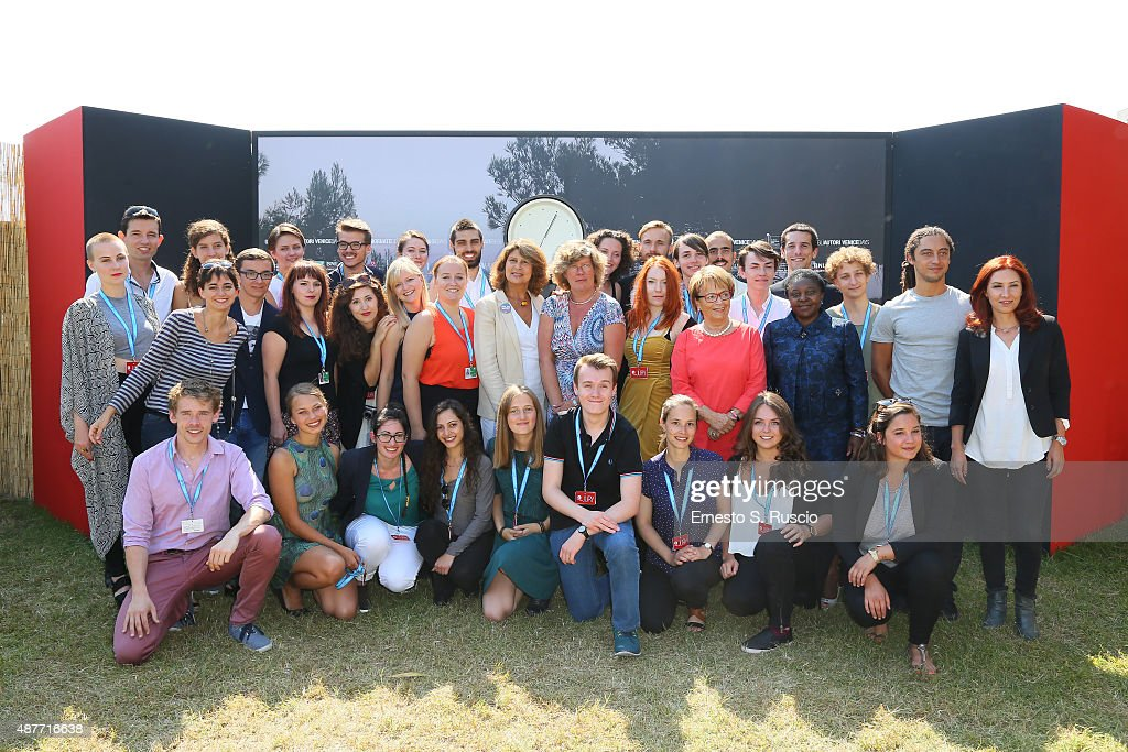 Silvia Costa (8thL), Petra Kammerevert (6thR), Doris Pack (4thR), Cecile Kyenge (3rdR), <a gi-track='captionPersonalityLinkClicked' href=/galleries/search?phrase=Jonas+Carpignano&family=editorial&specificpeople=8206478 ng-click='$event.stopPropagation()'>Jonas Carpignano</a> (2ndR), Margita Gosheva (R) and guests attend a photocall for Lux Award during the 72nd Venice Film Festival at Villa degli Autori on September 11, 2015 in Venice, Italy.