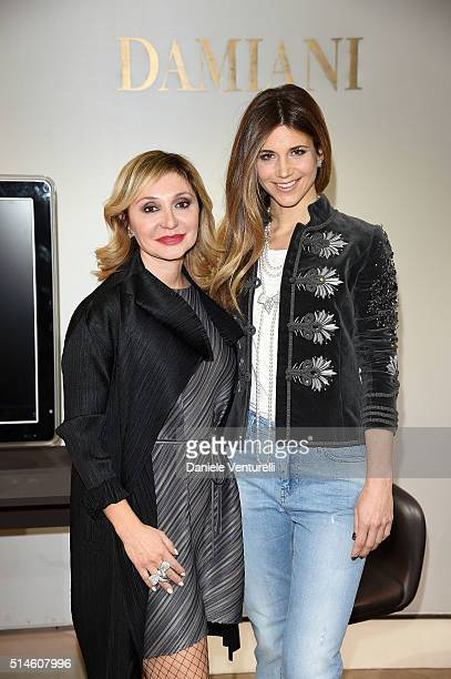 Silvia Damiani and Nicoletta Romanoff attend Damiani and Nicoletta Romanoff presents the new 'Fiocco' collection on March 10 2016 in Milan Italy