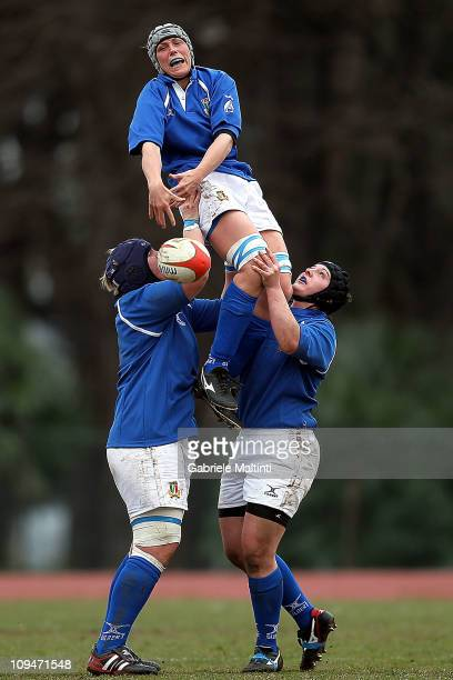 Silvia Gaudino wins a line out during the Women's Six Nations match between Italy and Wales at Centro Sportivo Marina Militare on February 27 2011 in...