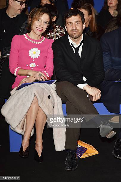 Silvia Grilli and Carlo Mazzoni attend the Fendi show during Milan Fashion Week Fall/Winter 2016/17 on February 25 2016 in Milan Italy