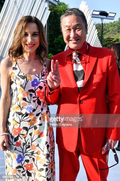 Silvia Grilli and Kansai Yamamoto attend the Louis Vuitton Resort 2018 show at the Miho Museum on May 14 2017 in Koka Japan