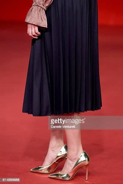 Silvia Mazzieri shoes detail walks a red carpet for 'Sole Cuore Amore' during the 11th Rome Film Festival at Auditorium Parco Della Musica on October...
